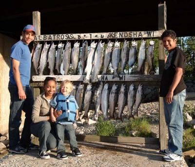 That's right charter fishing is for all ages! This family and friends caught this limit catch on afternoon of May 30th 2009. So come join the fun and catch some the fish, that may be the biggest in you life! Call Captain Ken Bruns today to reserve your day of a life time! (262) 945-8193