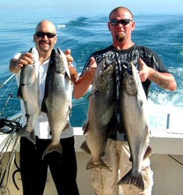 Ken and Mike on a Lake Michigan salmon fishing charter.