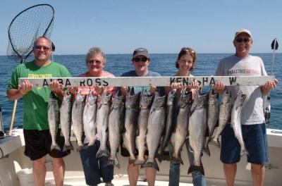 Big Kings are here! Here is a group that fished with Albatross Fishing Charters on July 11th 2009 We started fishing at 430 am and it was worth it! We started we 4 big Kings on at one time! If you would like to get action like that give us a call today! 262-945-8193 Captain Ken Bruns