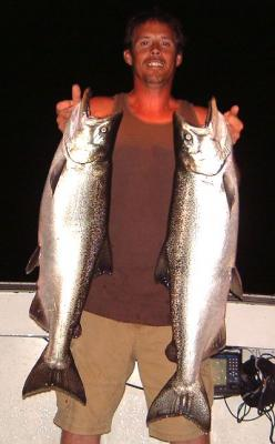 Here's Warren with a beautiful pair of Lake Michigan Chinook Salmon caught while fishing with Albatross Salmon Fishing Charters near Kenosha Wisconsin.