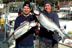 Jason and Steve with a nice catch of salmon while fishing Kenosha Wisconsin aboard Albatross Sportfishing Charters. These fish were caught October 2008. Which goes to show that Trophy fish are caught all season long!